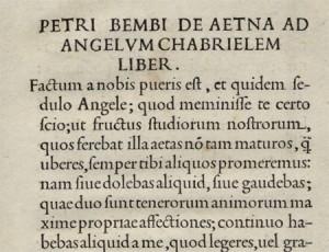 """L'incipit del """"De Aetna"""" in edizione aldina"""