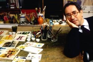Tullio Pericoli nel suo studio