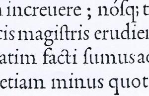 Dettaglio dei caratteri utilizzati per la stampa del De Aetna