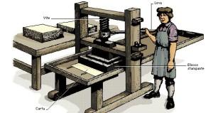 Un antico torchio da stampa