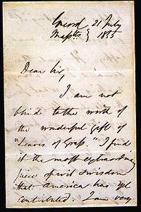 Lettera di Ralph Waldo Emerson a Whitman