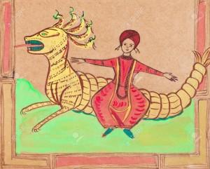 19879151-abiti-storici-Arab-principe-volante-su-drago-stilizzato-sotto-miniature-persiane-medievali-Archivio-Fotografico
