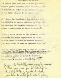 Autografo di Lorca