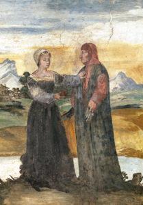 Laura e Petrarca, in un affresco nella casa del poeta
